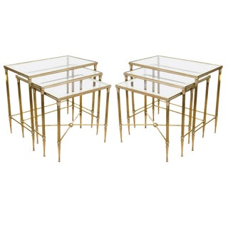 ELEGANT PAIR OF ITALIAN MIRRORED NESTING TABLES For Sale