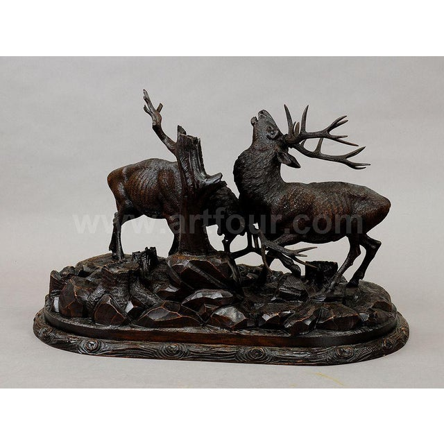 Grandiose Carved Wood Fighting Stags By Rudolph Heissl For Sale - Image 6 of 9