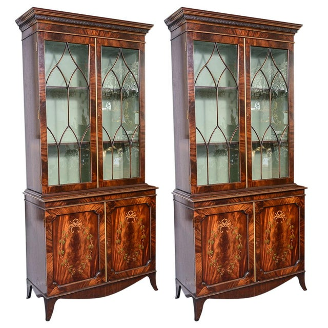 Regency Style Pair of Inlaid Wood Cabinets With Blown Glass Doors For Sale - Image 13 of 13