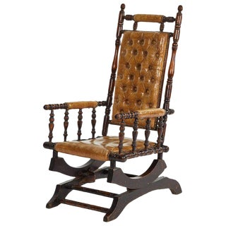 Mahogany Rocking Chair With Tufted Leather Upholstery For Sale