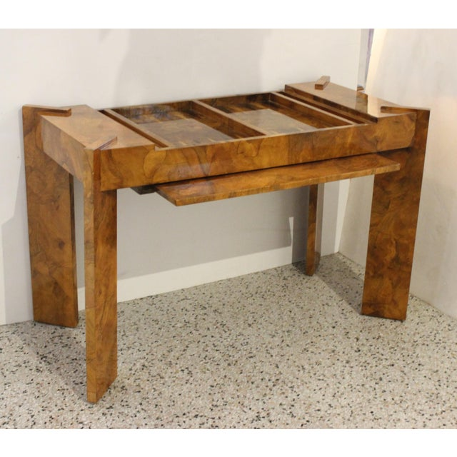 Olive Wood Games Table Backgammon Removable Tray Top Italy 1970s from a Palm Beach estate The Top tray (burl design top,...