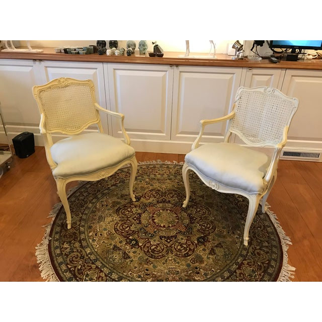 Louis Style Carved Wood White Chairs - a Pair - Image 5 of 10