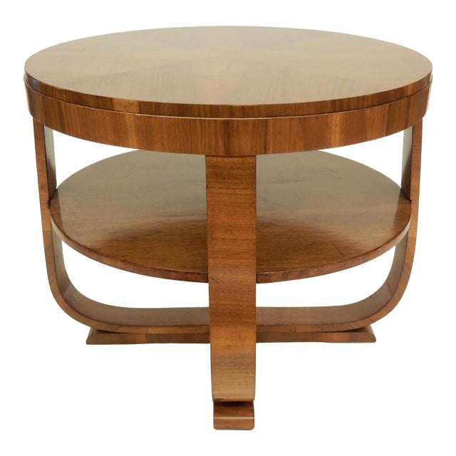 1930's Round Art Deco Walnut Side Table For Sale