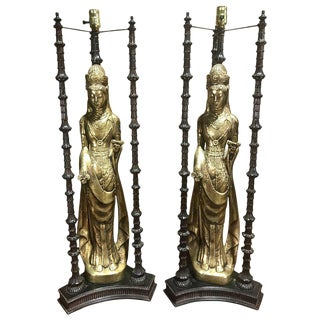Large-Scale Gilt Quan Yin Lamps, in the Style of James Mont - a Pair For Sale