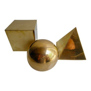 Group of Three Spanish Brass Geometric Forms by Sarreid Ltd. C. 1970s For Sale