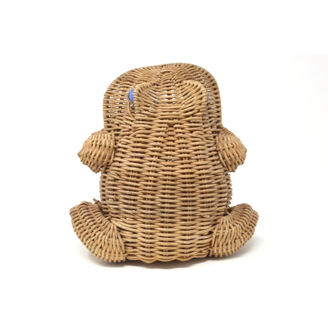 Vintage Wicker Frog Basket With Glass Marble Eyes For Sale In Tampa - Image 6 of 11