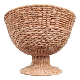 Oversized Woven Pedestal-Style Basket Planter