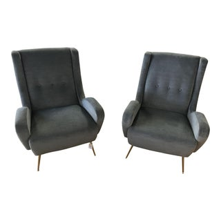 Modern Gray Club Chairs with Brass Stiletto Legs - A Pair For Sale