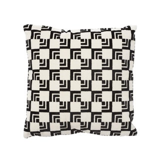 Schumacher Frank Lloyd Wright Imperial Hotel Velvet Black & White 16 X 16 Pillow - Pair For Sale
