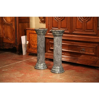 Mid-20th Century Italian Carved Green Marble Display Pedestals - a Pair Preview