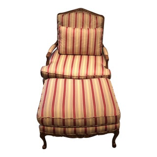 Baker French Provincial Upholstered Chair and Ottoman For Sale