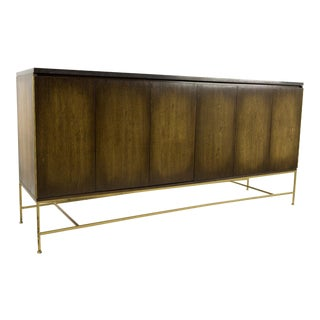 Paul McCobb for Calvin Brass Base Sideboard Credenza with Black Marble Top