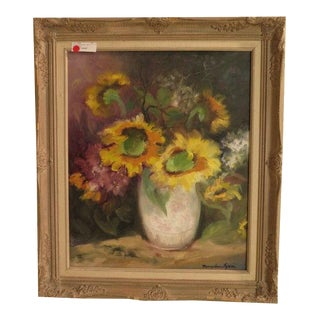 """""""Sunflowers in Vase"""" Framed Oil Painting on Canvas by Mary Ann Tyson For Sale"""