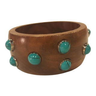 Wood Bangle With Tourquise Detail For Sale