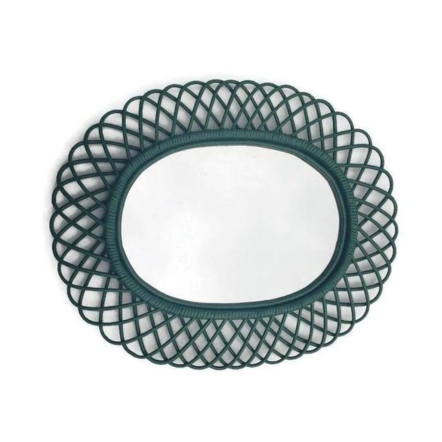 "Mid Century Bent Bamboo Wall Mirror Italian 31"" - Image 3 of 10"