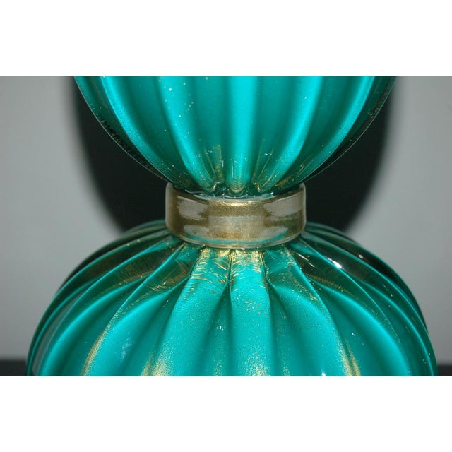 Metal Murano Glass Three Footed Table Lamps Aqua Gold For Sale - Image 7 of 10