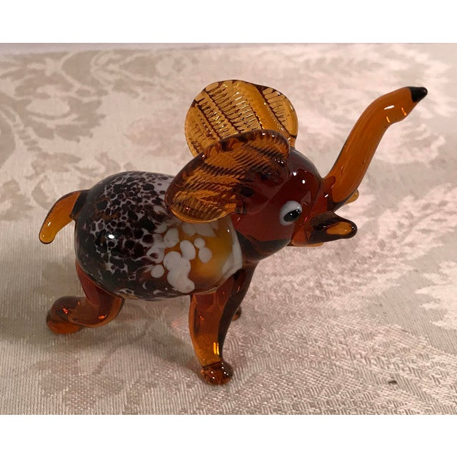 Vintage Blown Art Glass Brown Elephant - Image 2 of 8