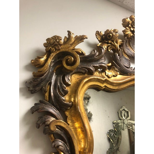 Metal Carved Gold Gilt Mirror For Sale - Image 7 of 10