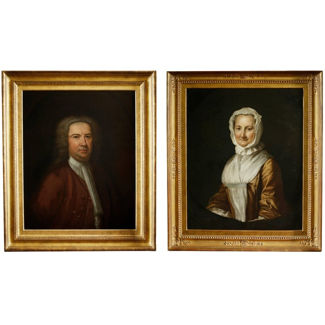 Pair of 18th Century American Portraits in Giltwood Frames For Sale