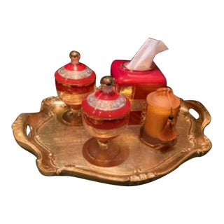 Mid 20th Century Italian Direct Import Bathroom Accessories Set - 5 Pieces For Sale