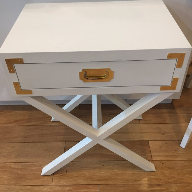 Port to Port Single Drawer Table with Brass Accents X base Great little side table for your bedroom or any room!