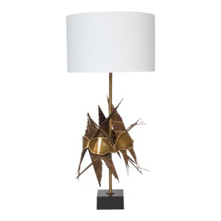 Tom Greene Brutalist Metal Table Lamp For Sale