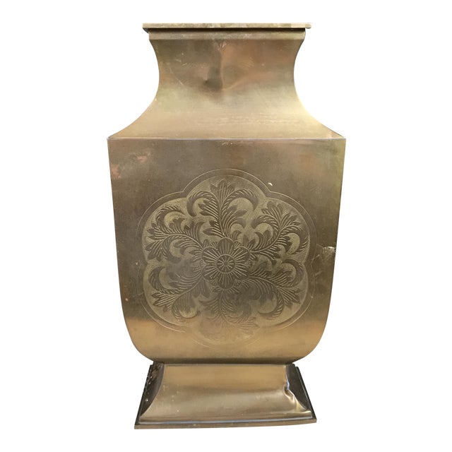Greek Key Chinoiserie Etched Brass Vase For Sale
