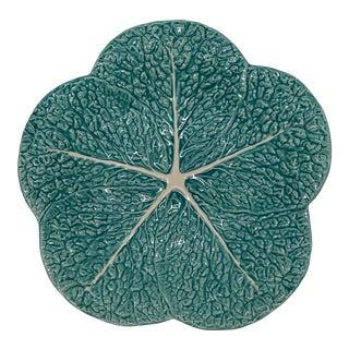Portuguese Light Blue Handmade Ceramic Lettuce Plates For Sale