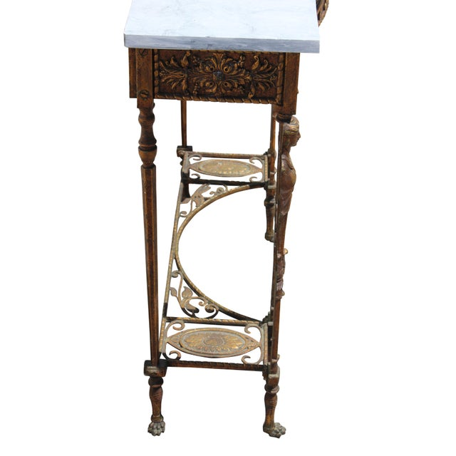 1920s Art Deco Marble Top Iron Table For Sale - Image 10 of 11