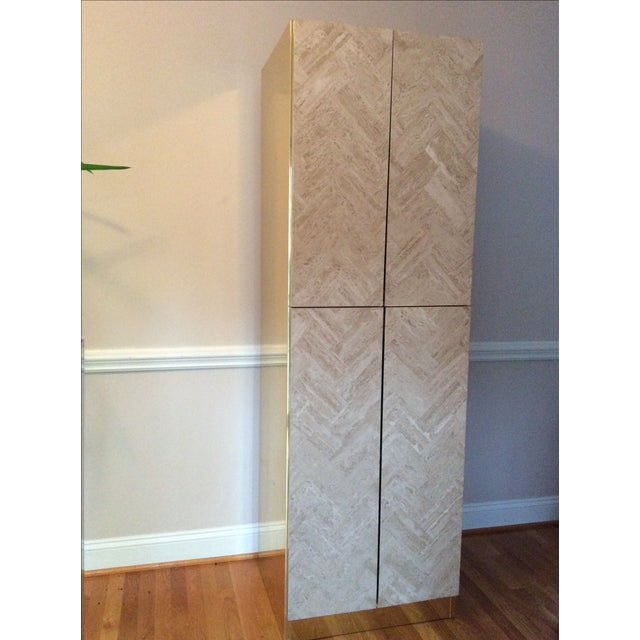 Ello Travertine Marble & Brass Bar Cabinets - A Pair - Image 10 of 10