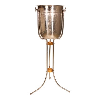 Vintage Art Deco Silver Champagne Ice Bucket Stand For Sale