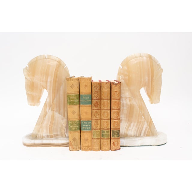 Oversize Large Vintage Marble Horse Head Bookends - A Pair For Sale - Image 5 of 8