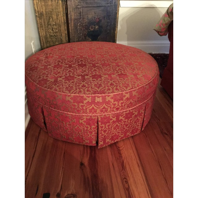 """Red and Gold 41"""" Round Ottoman - Image 2 of 5"""