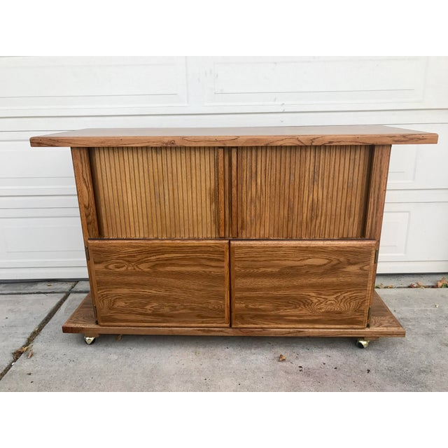 Vintage 1960s Rolling Dry Bar with Tambour Doors - Image 2 of 9