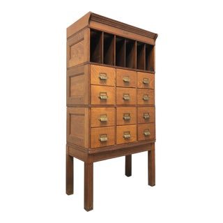 Antique Early 20th Century Tiger Oak Barrister File Cabinet For Sale
