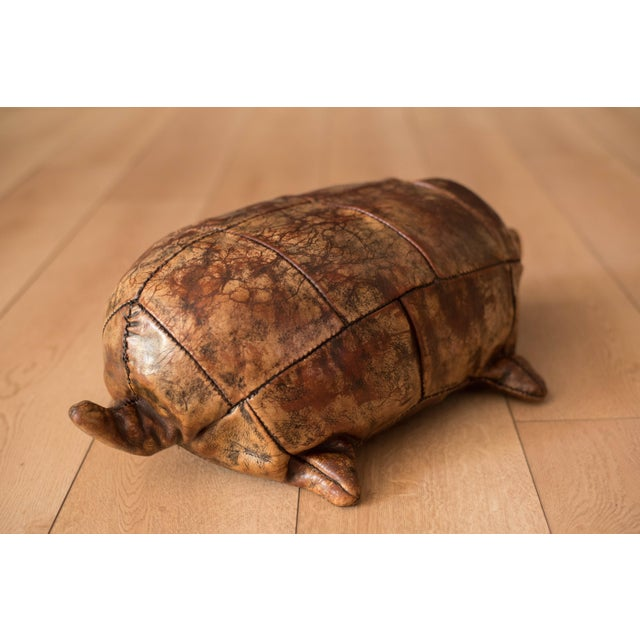 Vintage Abercrombie and Fitch Leather Turtle Footstool by Dimitri Omersa For Sale - Image 6 of 8