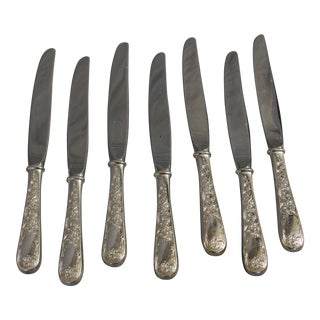 Engraved Stainless Steel Knives - Set of 7 For Sale