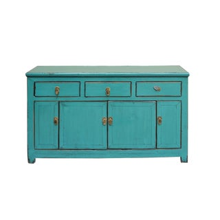 Chinese Distressed Rustic Teal Blue Sideboard Buffet Table Cabinet For Sale