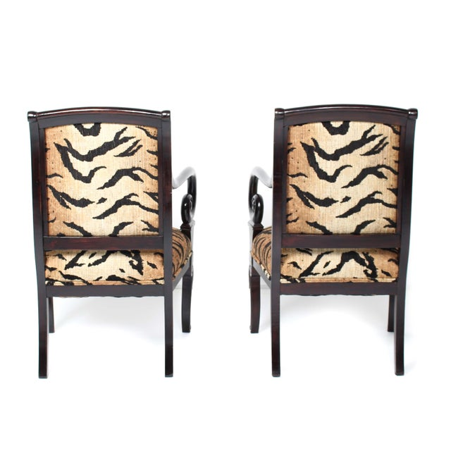 Antique Italian Armchairs With Animal Print - Pair - Image 4 of 5