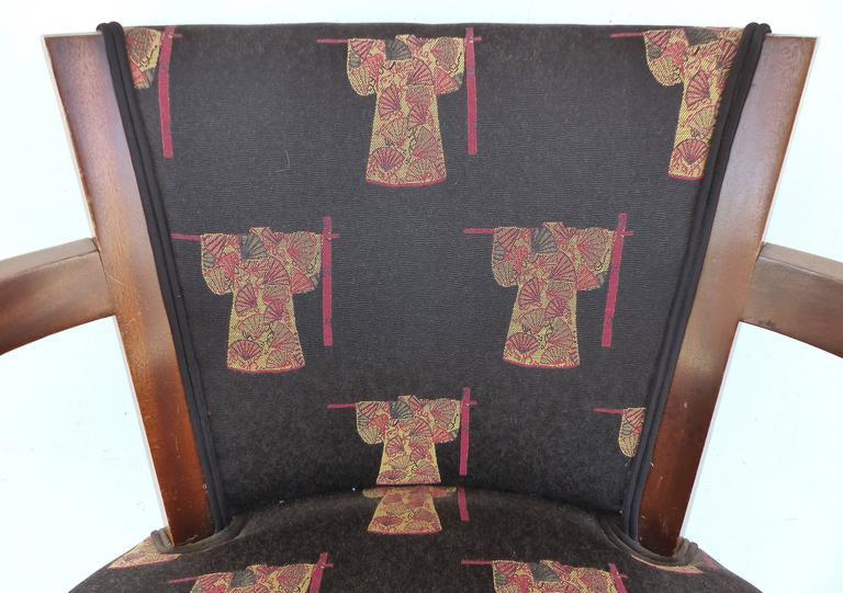 Lovely French Art Deco Chairs Upholstered In An Asian Motif A Pair