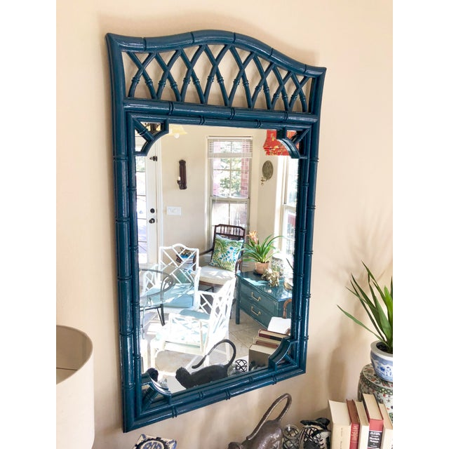 Thomasville Thomasville Faux Bamboo High Gloss Sapphire Blue Mirror For Sale - Image 4 of 10