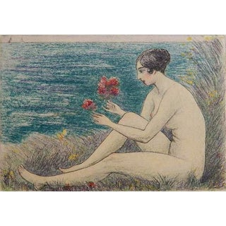 C.1930 Émile-Jean Sulpis Nude Woman With Seagrass and Flowers Etching