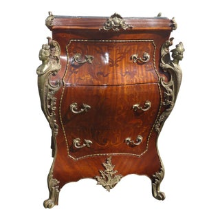 Vintage French Louis XV Bombe Ornate Brass Ormolu Marble Topped Commode For Sale