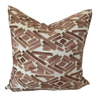 Pink and White Abstract Patterned Pillow For Sale