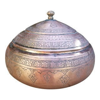 19th Century Handcrafted Copper Pakistani Rice Server Bowl For Sale