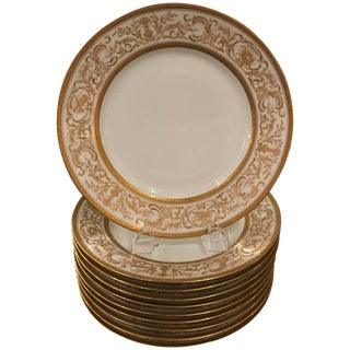 French Plates With Raised Gilt Borders - Set of 10 For Sale