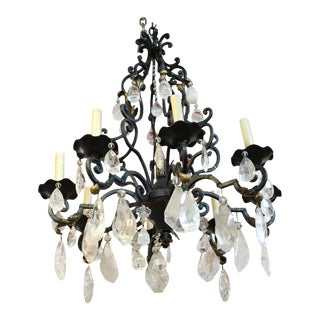 French Neoclassical Style Bronze Chandelier With Rock Crystal Quartz Prisms For Sale