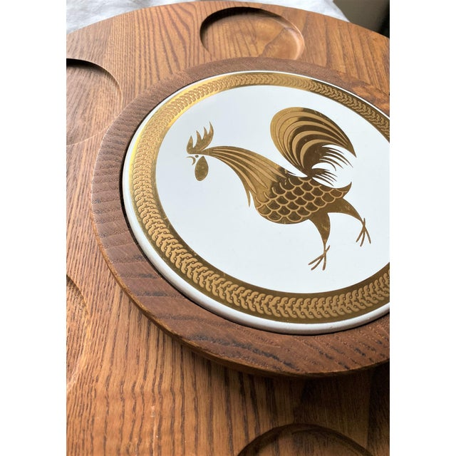 Mid-Century Modern 1960s Mid Century Modern Teak Lazy Susan With Gold Rooster For Sale - Image 3 of 10