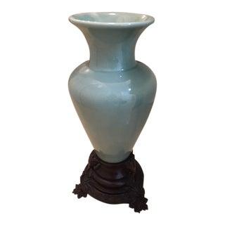 Sage Green Glazed Ceramic Vase on Solid Bronze Base