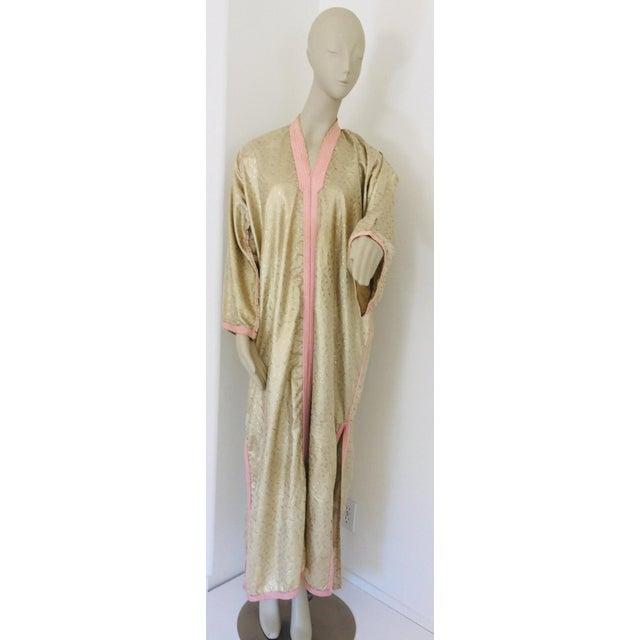 1970s Metallic Gold Moroccan Caftan, Kaftan Maxi Dress North Africa, Morocco For Sale - Image 12 of 13